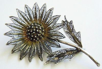 FABERGE Antique Imperial RUSSIAN Filigree Brooch Flower, 84 silver.