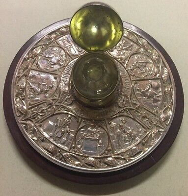 Henry Elkington Inkwell - Victorian Silver Plated Inventors & Glass Ink Holder