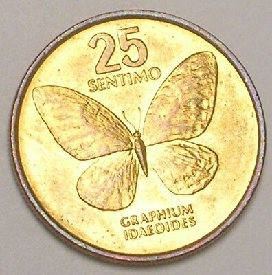 1990 Philippines 25 Sentimos Luna Butterfly Coin XF