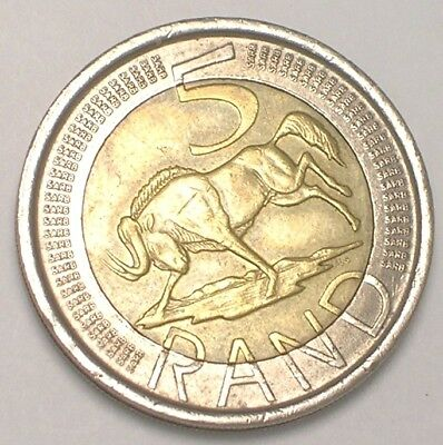 2005 South Africa African 5 Rand Wildebeest Arms Bimetal Coin VF+