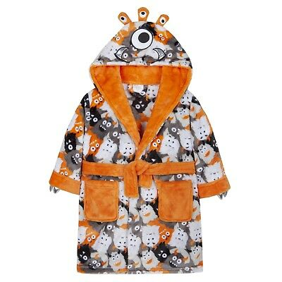 Boys 3D Monster Dressing Gown Soft Plush Hooded Bath Robe Fleece House Coat