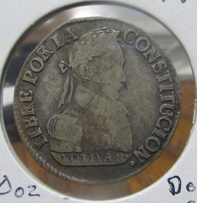 Bolivia 1830 2 Soles Circulated. 0.1130oz ASW  KM-95a                     TF-E7