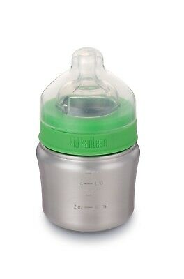 Klean Kanteen Baby Bottle 5oz 148ml with Slow Flow Nipple 0-6 months - Stainless