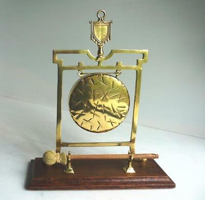 Vintage Brass Dinner Gong with wooden base - In Very Good Condition for age