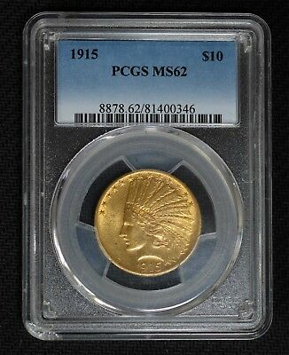 PCGS MS62 1915 USA $10 Indian Gold Coin