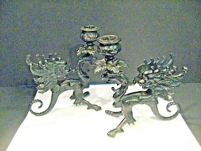 Pair Vintage Black Cast Iron Candle Holder Gothic Dragon Griffin Gryphon Figure