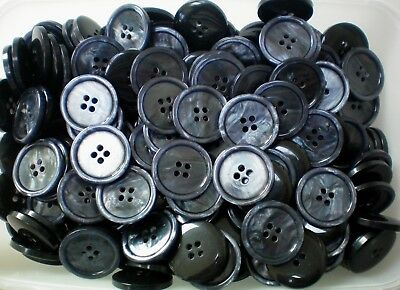 23mm 36L Black /& Pearlescent Soft Grey 4 Hole Quality Coat Buttons CB17