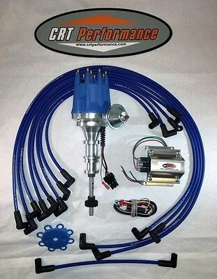 FORD Y-Block 256-272-292-312 Small HEI Distributor BLUE, 60K Coil + Plug Wires