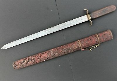 Antique Chinese Sword With Carved Wood Scabbard