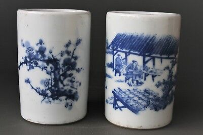 Antique Chinese Porcelain White And Blue Brush Pods Pair