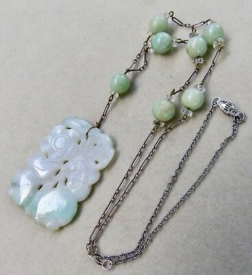 Antique Art Deco Carved Chinese White & Green Jade Sterling Pendant Necklace