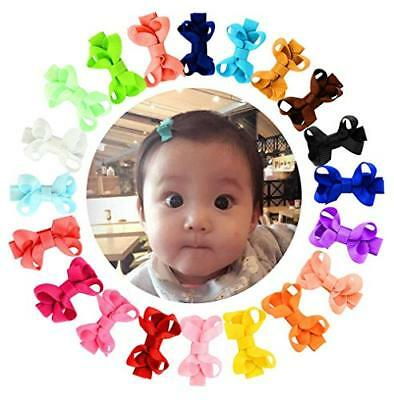 """20Pcs 2"""" Small Baby Hair Bows Ribbon Clips for Girls Toddlers Kids"""