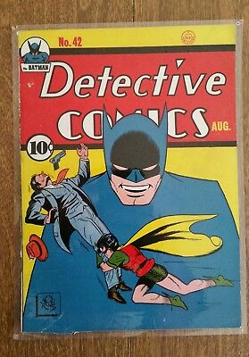 DETECTIVE COMICS #42-Batman-1940-DC Golden Age COMIC -FRONT  COVER ONLY!