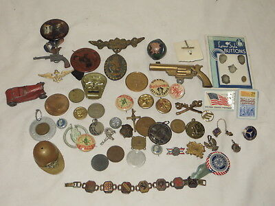 # Huge Lot Of Exonumia Political Buttons, Coins, Military Prize Premiums Pins