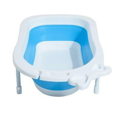 Newborn Toddler Baby Bath Tub Bathroom Child Wash Bathing Foldable Blue White