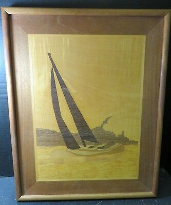 Vintage Framed Hand Crafted Marquetry Wooden Inlaid Sailboat Picture Excellent