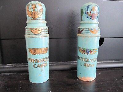 ANTIQUE ORIGINAL WOOD & GLASS EGYPTIAN PERFUME BOTTLES (LOT of 2) RARE !!!