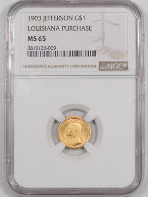 1903 Jefferson $1 Gold Louisiana Purchase Ngc Ms-65, Premium Quality!