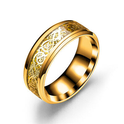 Celt Dragon Band Ring Women Men Stainless Steel Yellow Gold Wedding Gifts Size 5