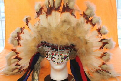 Osage Tribe  Native American Indian Feathered Head Dress