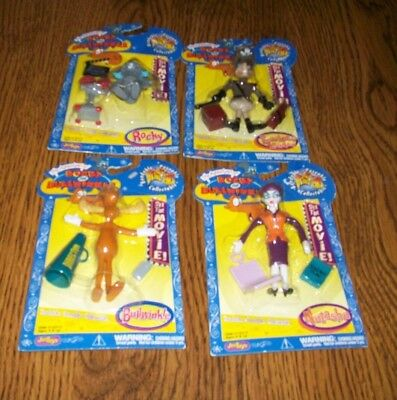 Lot Of 4 Rocky And Bullwinkle Bendable Figures..New On Card..