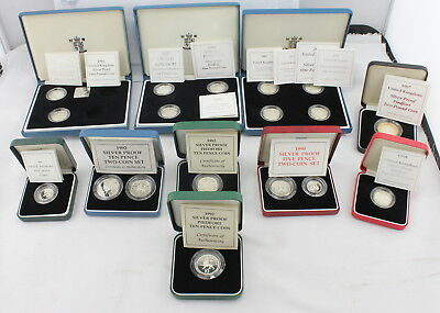 Large Lot Of *18* British Silver Proof Piedfort Coins No Reserve #2769