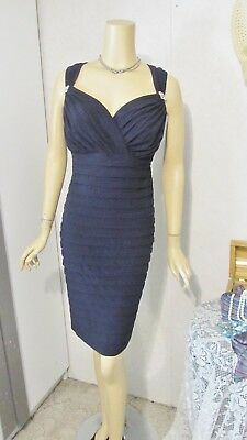 Mother Of The Bride Dress by R & M Richards-Size 18W- Navy Illusion Shutter