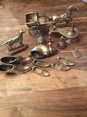 Job Lot Bundle Of Old Antique Brass Items