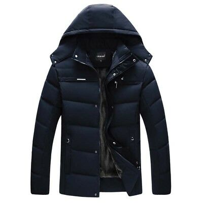 Winter Mens  Down Cotton Jacket Parka Hooded Casual Outwear With Velvet Coat New