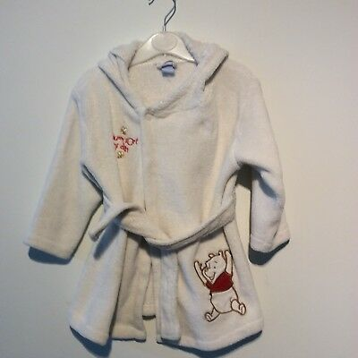 Baby Toddler Fleece Dressing Gown Disney Winnie The Pooh  Age 12-18 Months VGC