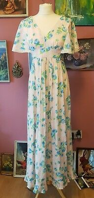 Vintage Women's 70s Pink Floral Layered Handmade Maxi Dress
