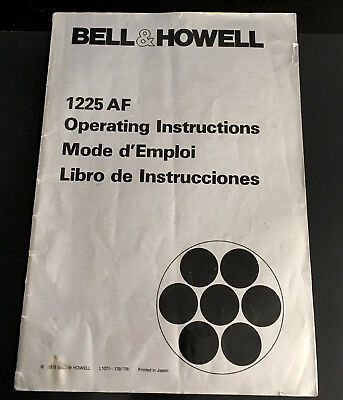 Original Bell & Howell 1225AF Movie Camera Instruction Manual