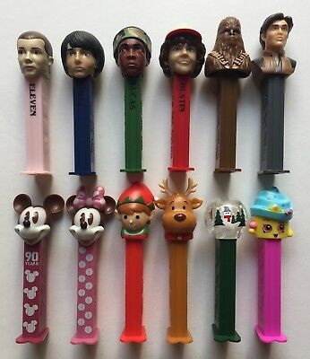 PEZ 2018 12 Diff New Releases Stranger Things Han Solo Mickey 90 Xmas Shopkins