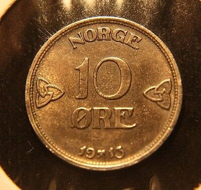 1913 Norway 10 Ore Silver Coin AU/XF  KM#372 Almost Uncirculated/Extra Fine