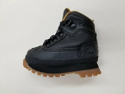 TIMBERLAND EURO HIKER SHELL BLACK LEATHER BLACK RUBBER TOE TODDLER BOOTS A1NJ4