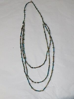 Ancient Fine Egyptian Mummy faience bead necklace Nile Valley circa 1000 BC