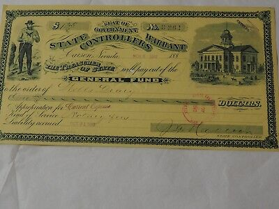 1888 STATE CONTROLLERS WARRANT CARSON NEVADA General Fund WARRANT To Pay