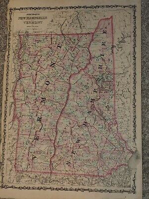 """1863 Johnson Map of NEW HAMPSHIRE VERMONT by Johnson Ward 18"""" x 26"""""""