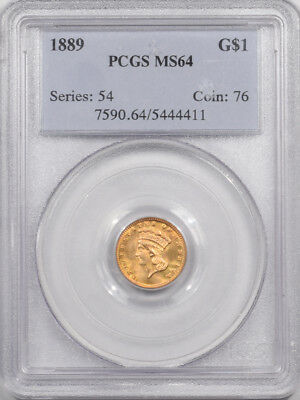 1889 $1 Gold Dollar Pcgs Ms-64