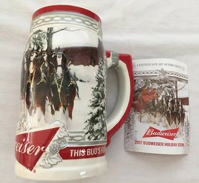Budweiser 2017 Holiday Beer Stein Mug Annual Christmas Clydesdale Collectible