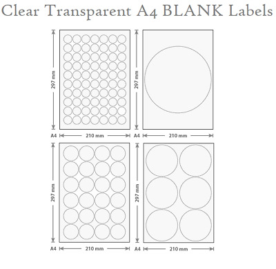 5 CLEAR Transparent Round BLANK Label A4 Laser Printable 25<200mmØ Sticker Seal