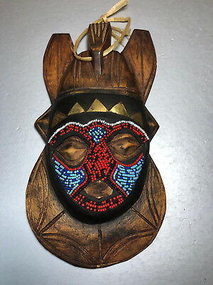 Vintage African Mask hand carved wood painted horned beaded Tribal Art