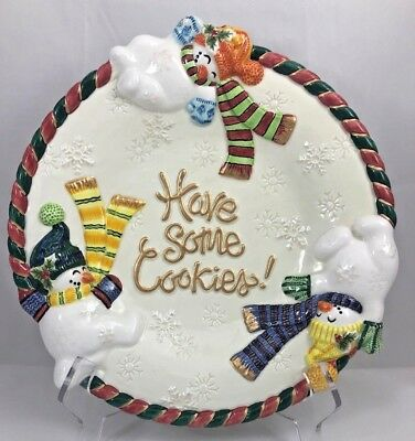 """Fitz And Floyd Classics Christmas Snowman """"Have Some Cookies"""" Ceramic Plate Dish"""