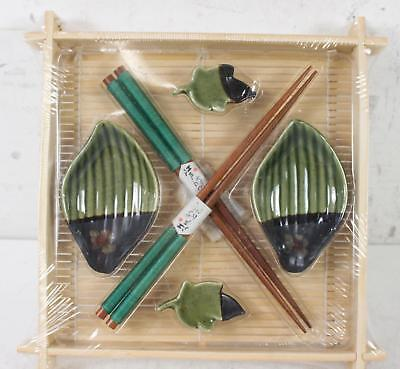 Set Of 2 Sushi Set Green Dipping Bowls Chopsticks