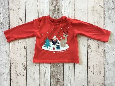 M&S Unisex My First Christmas Longsleeve top 9-12 Months