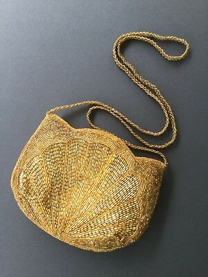 Vintage Beaded Purse Tulip Shaped, Yellow Gold Color, Zippered