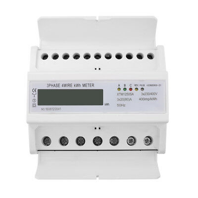 Digital LCD 50Hz 3x20(80)A KWH Power Energy Meter 3-Phase 4-Wire DIN Rail TE558