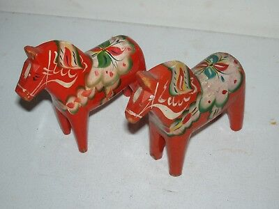 Two Older Marked Sweden Only Orange Hand Painted Wooden Dala Horses