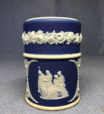 Antique Dark Blue / Cobalt Wedgwood Jasperware Classical Scenes Match Box