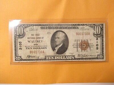 1929 $10 The First National Bank Of Waverly,iowa